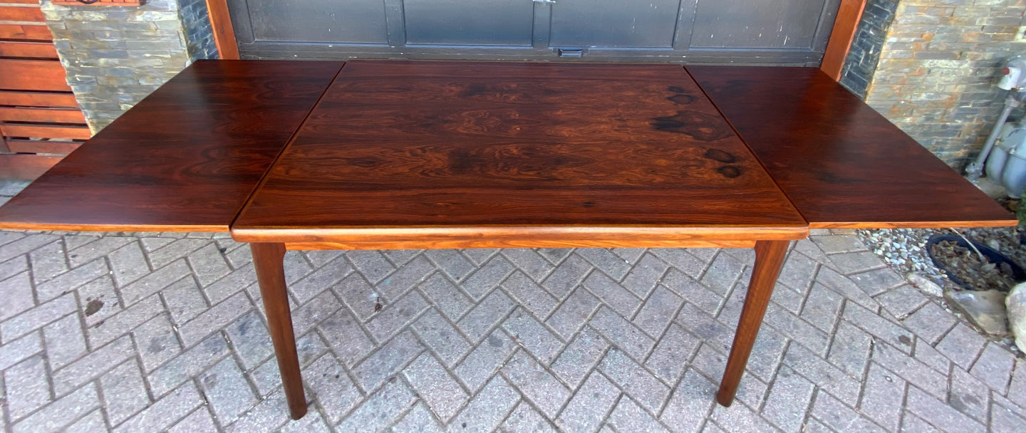 REFINISHED Danish MCM Rosewood Draw Leaf Table by H. Kjaernulf  51