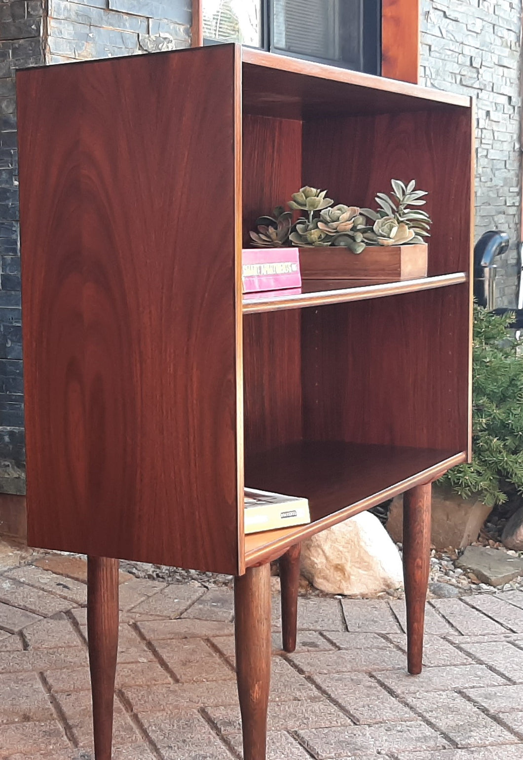 RESTORED Small Danish MCM Rosewood Bookcase Display 34