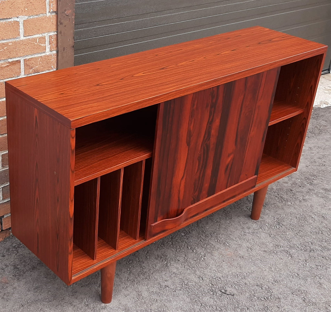 RESTORED Swedish MCM Rosewood record display console with one sliding door by Troeds 51
