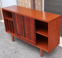 "Load image into Gallery viewer, RESTORED Swedish MCM Rosewood record display console with one sliding door by Troeds 51"", perfect"
