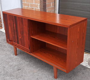 "RESTORED Swedish MCM Rosewood record display console with one sliding door by Troeds 51"", perfect"