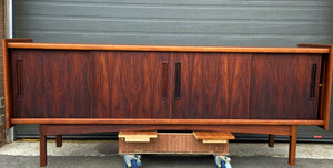 REFINISHED Danish MCM Brazilian Rosewood Sideboard Credenza, 4 sliding doors, perfect, 81.5""