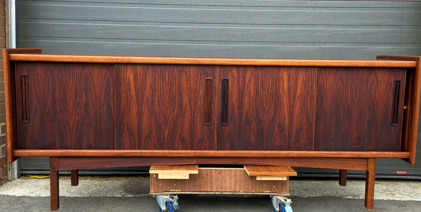 REFINISHED Danish MCM Brazilian Rosewood Sideboard Credenza, 4 sliding doors, perfect, 81.5