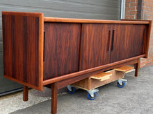 Load image into Gallery viewer, REFINISHED Danish MCM Brazilian Rosewood Sideboard Credenza, 4 sliding doors, perfect, 81.5""