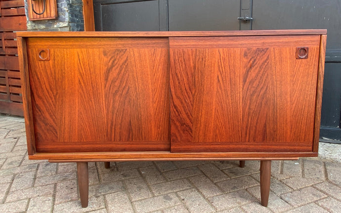 RESTORED Danish MCM rosewood credenza with finished back 47.25