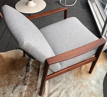 Load image into Gallery viewer, REFINISHED REUPHOLSTERED Danish MCM Teak Lounge Armchair in soft grey wool, PERFECT - Mid Century Modern Toronto