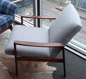 REFINISHED REUPHOLSTERED Danish MCM Teak Lounge Armchair in soft grey wool, PERFECT - Mid Century Modern Toronto