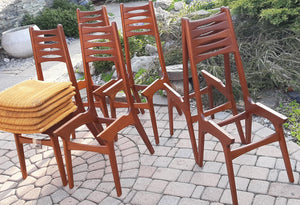 6 Danish MCM Teak Chairs by Kai Kristiansen, ready for new upholstery
