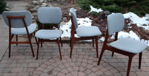4 REFINISHED REUPHOLSTERED Danish MCM Teak Dining Chairs, A. Olsen style,  like new