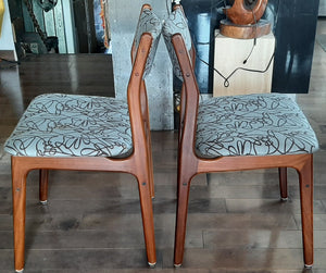 4 REFINISHED Danish MCM Teak Dining Chairs, ready for new upholstery