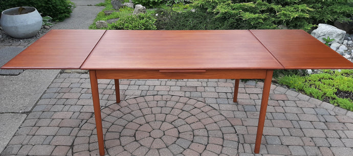 REFINISHED Danish MCM Teak Draw Leaf Table, PERFECT 51-91