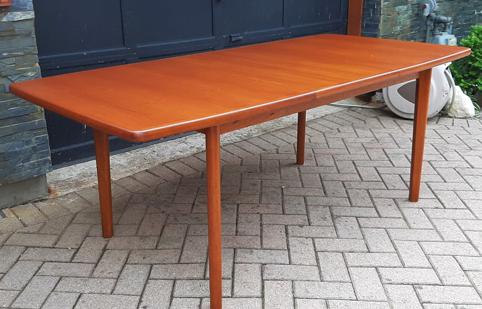 REFINISHED Danish MCM Teak Table Extendable Self Storing  55-74.5