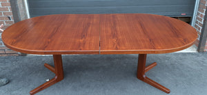 "REFINISHED Danish MCM Teak Dining Table Round to Oval w 2 leaves PERFECT 47"" - 86"", treated for durability"