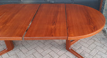 "Load image into Gallery viewer, REFINISHED Danish MCM Teak Dining Table Round to Oval w 2 leaves PERFECT 47"" - 86"", treated for durability"