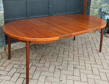 "Load image into Gallery viewer, REFINISHED Danish MCM Teak Table Round to Oval w 2 Leaves 47""-86"", PERFECT"