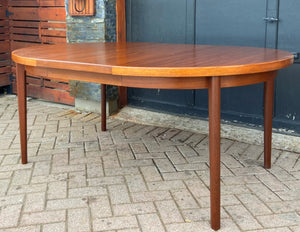 "REFINISHED Danish MCM Teak Table Round to Oval w 2 Leaves 47""-86"", PERFECT"