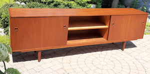 REFINISHED Danish Mid Century Modern Teak Sideboard 8 ft