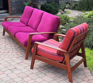 REFINISHED Danish MCM Teak 3-Seater Sofa & Lounge chair - PERFECT