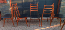 Load image into Gallery viewer, 6 Danish Mid Century Modern Ladder- Back Solid Teak Chairs, Restored, Perfect