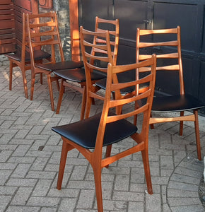 6 Danish Mid Century Modern Ladder- Back Solid Teak Chairs, Restored, Perfect