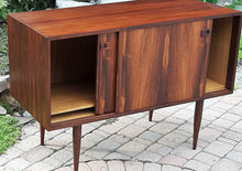 Load image into Gallery viewer, REFINISHED Danish MCM Rosewood Cabinet with 2 sliding doors 43""