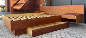 REFINISHED Danish Queen MCM Teak Platform Bed w floating nightstands & storage drawer, PERFECT
