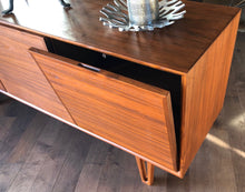 "Load image into Gallery viewer, Danish MCM Teak Buffet Bar Ib Kofod-Larsen style 63"", 3 doors with hidden handles, perfect - Mid Century Modern Toronto"