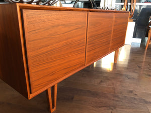 "Danish MCM Teak Buffet Bar Ib Kofod-Larsen style 63"", 3 doors with hidden handles, perfect - Mid Century Modern Toronto"