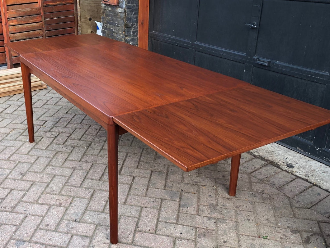 ON HOLD ***REFINISHED Danish MCM Teak Draw Leaf Table by H. Kjaernulf 55