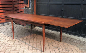 "REFINISHED Danish MCM Teak Draw Leaf Table by H. Kjaernulf 55""-97"", PERFECT, treated for durability - Mid Century Modern Toronto"