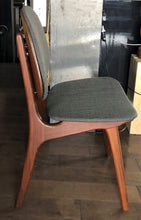 Load image into Gallery viewer, 2 RESTORED REUPHOLSTERED Danish MCM Teak Shield Back Chairs by Arne Hovmand-Olsen, grey, each $375 - Mid Century Modern Toronto