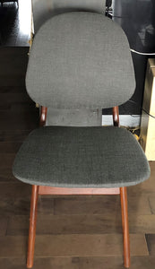 2 RESTORED REUPHOLSTERED Danish MCM Teak Shield Back Chairs by Arne Hovmand-Olsen, grey, each $375 - Mid Century Modern Toronto
