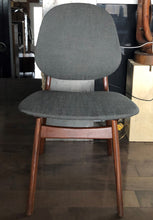 Load image into Gallery viewer, 4 RESTORED REUPHOLSTERED Danish MCM Teak Shield Back Chairs by Arne Hovmand-Olsen, grey, each $375 - Mid Century Modern Toronto