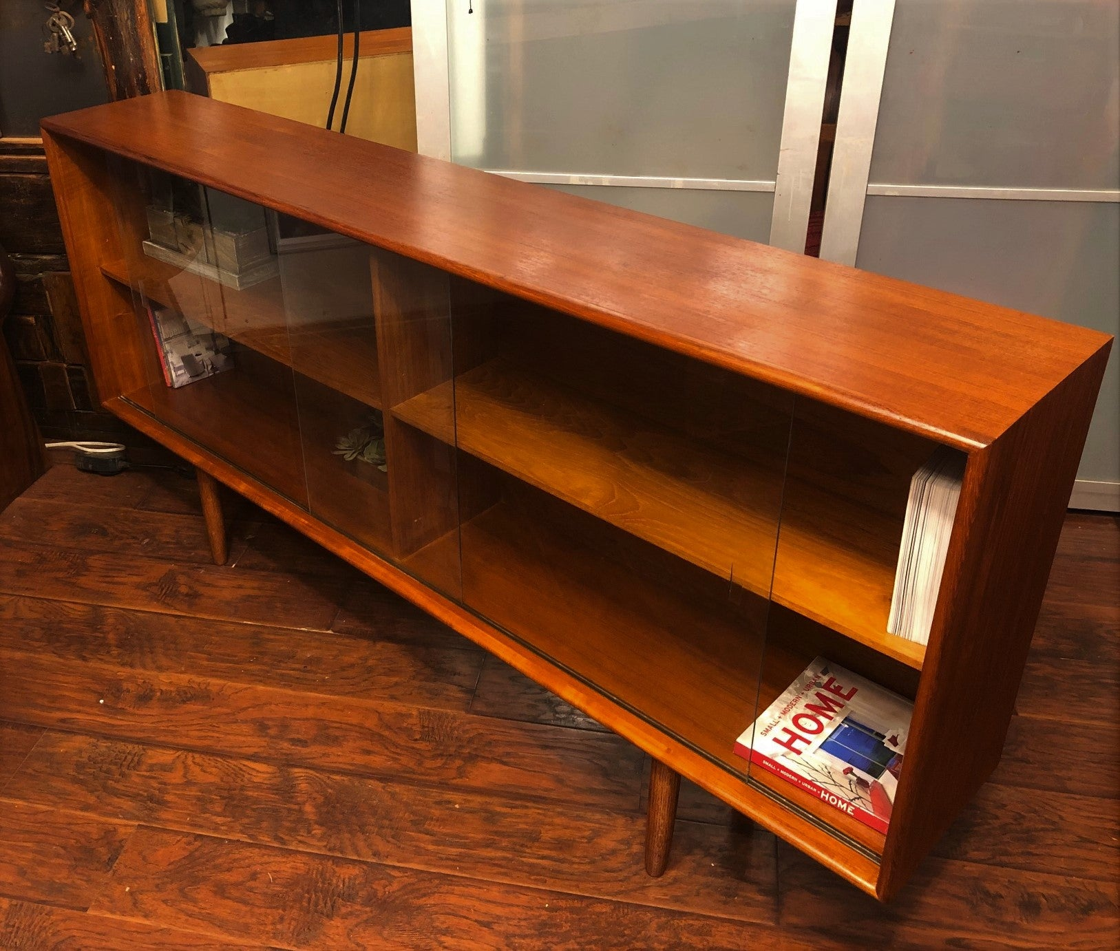 Refinished Danish Mcm Teak Bookcase Display Narrow Perfect
