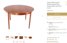 "Load image into Gallery viewer, REFINISHED Danish MCM Round Teak Table w 2 Leaves 49""-89"" - Mid Century Modern Toronto"