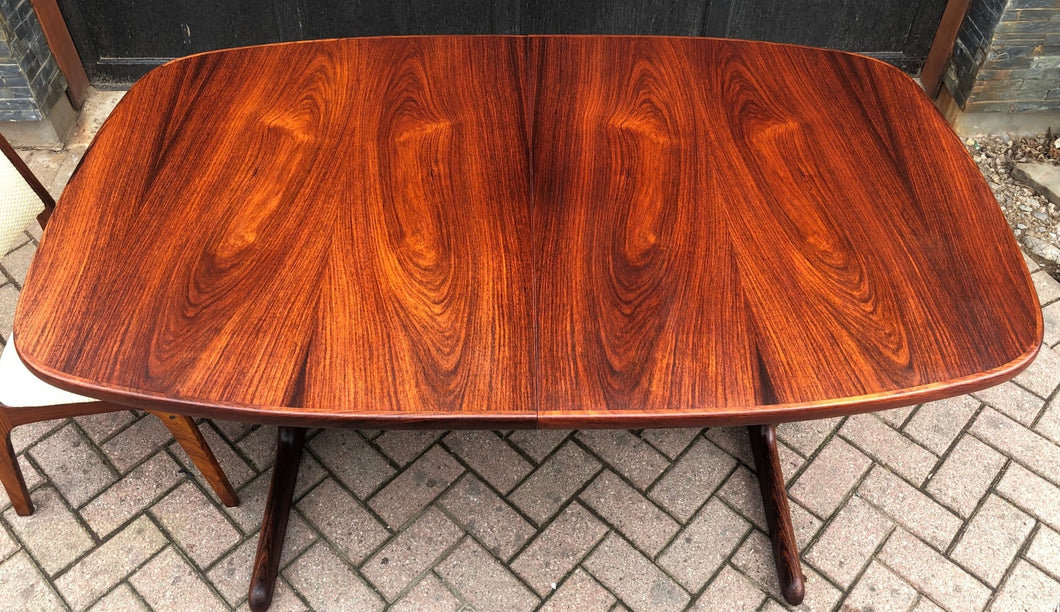 REFINISHED Large Danish MCM Rosewood Table 2 Leaves 65-108.5