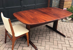 "REFINISHED Large Danish MCM Rosewood Table 2 Leaves 65-108.5"" PERFECT, treated for durability - Mid Century Modern Toronto"