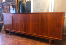 "Load image into Gallery viewer, REFINISHED Rare Danish MCM Teak Highboard or Entertainment Console 80"", perfect - Mid Century Modern Toronto"