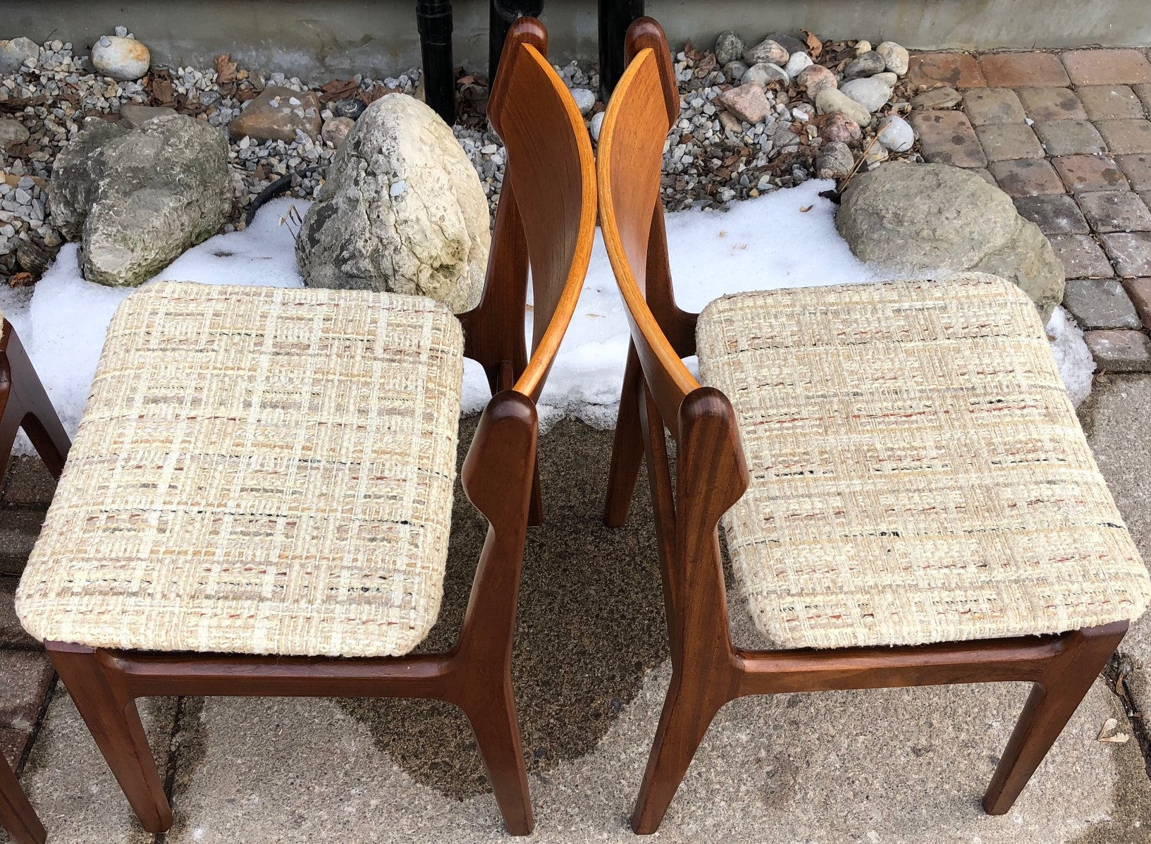 4 Danish Mcm Teak Chairs With Floating Seats Will Be Custom