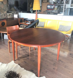 "REFINISHED Danish MCM Round Teak Table w 2 Leaves 49""-89"" - Mid Century Modern Toronto"