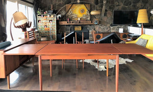"REFINISHED Danish MCM Teak Draw Leaf Table 55""-98"" - Mid Century Modern Toronto"