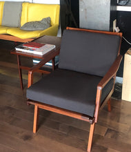 Load image into Gallery viewer, REFINISHED REUPHOLSTERED Pair of Danish Teak MCM Lounge Chairs w new dark grey Maharam cushions, like new - Mid Century Modern Toronto