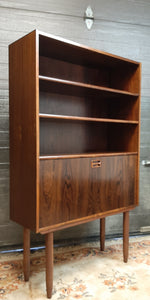 "RESTORED Danish MCM Rosewood Bar Display Bookcase, narrow 34"", perfect - Mid Century Modern Toronto"