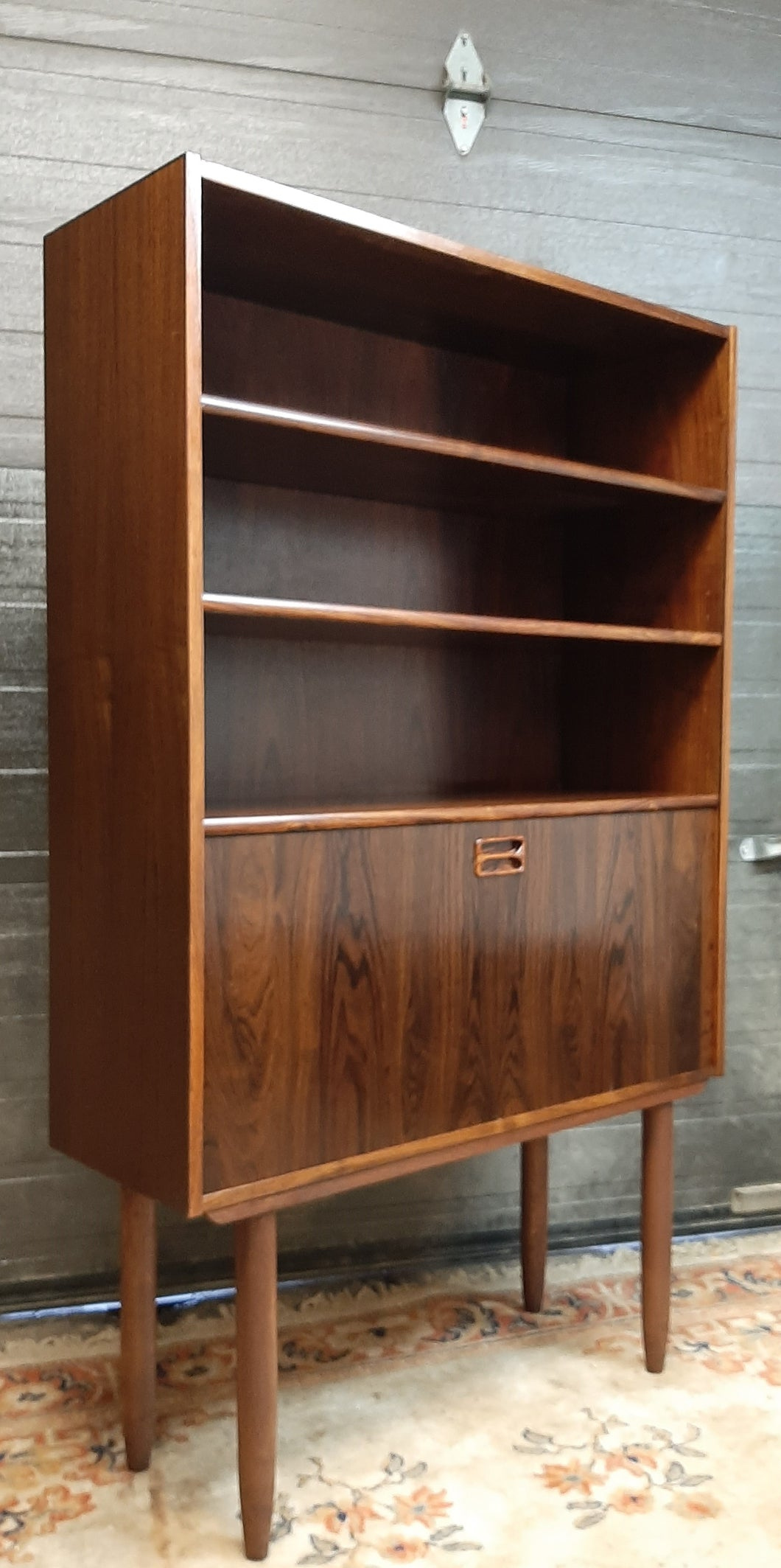 RESTORED Danish MCM Rosewood Bar Display Bookcase, narrow 34