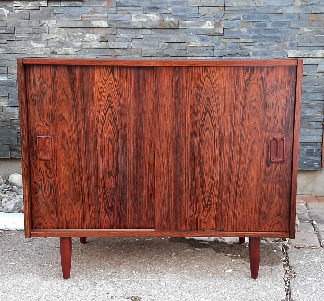 REFINISHED Danish MCM Rosewood Cabinet with sliding doors, 34