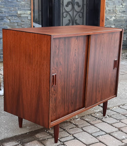 "REFINISHED Danish MCM Rosewood Cabinet with sliding doors, 34"", perfect - Mid Century Modern Toronto"