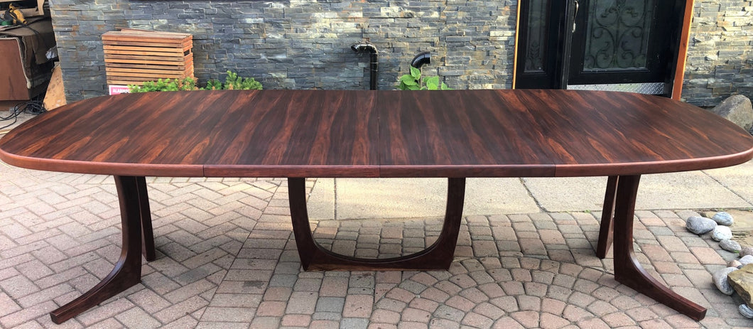 ON HOLD REFINISHED Large Danish MCM Brazilian Rosewood Table w 2 Leaves 70