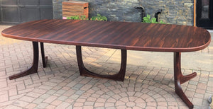 "ON HOLD REFINISHED Large Danish MCM Brazilian Rosewood Table w 2 Leaves 70""-117""PERFECT, treated for durability - Mid Century Modern Toronto"