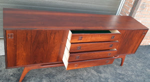 "REFINISHED rare Danish MCM Brazilian Rosewood Sideboard Credenza, perfect, 77"" - Mid Century Modern Toronto"