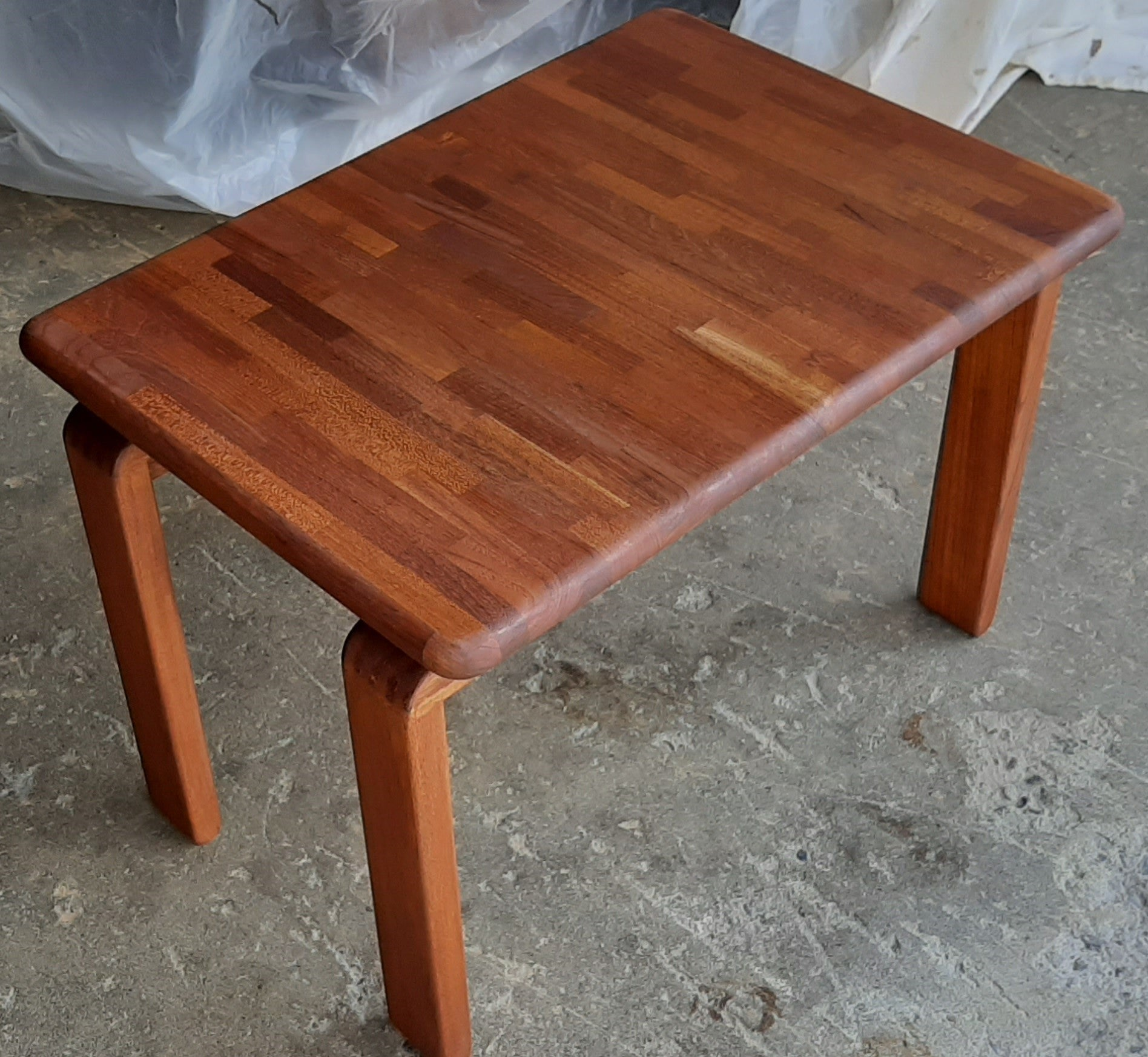 Refinished Danish Mcm Solid Teak Side Or Small Coffee Table